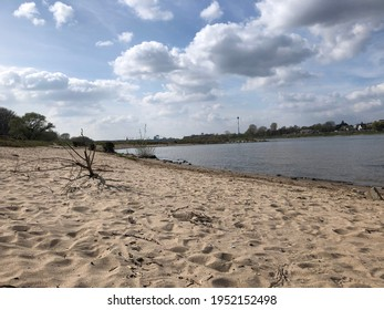 Beach on the banks of the Rhine in Cologne Rodenkirchen