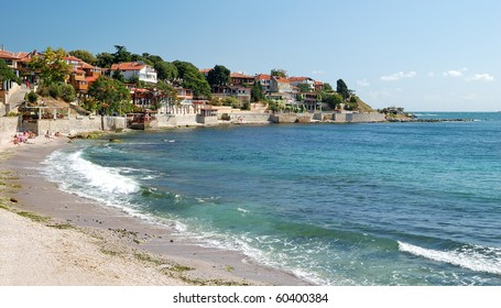 Beach on the Black Sea in Nessebar, Bulgaria