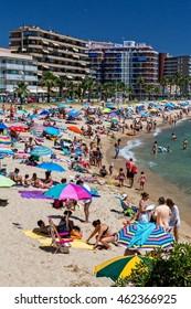 Beach on the Costa Brava (Sant Antoni de Calonge) of Spain, BARCELONA, SPAIN - july 09 2016