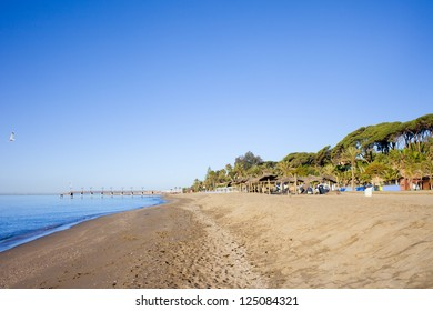 Beach on Costa del Sol in Marbella, Spain, Malaga province.