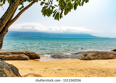 Beach on Ilhabela Island on Sao Paulo's North Coast Overlooking the Continent and the City of Sao Sebastiao