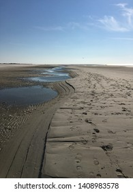 The beach on the island Amrum at low tide. Amrum is part of the North Frisian Islands in Germany.