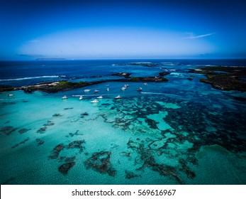 Beach on the island of San Cristobal in Galapagos Islands, Ecuador, Aerial shot