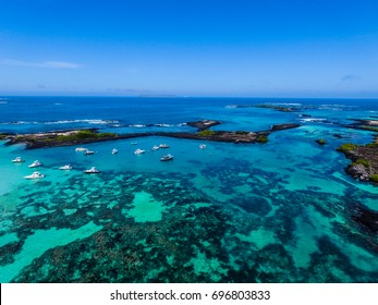 Beach on the island of San Cristobal in Galapagos Aerial