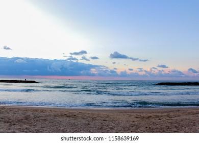 Beach on the Mediterranean Sea in Ashkelon , Israel