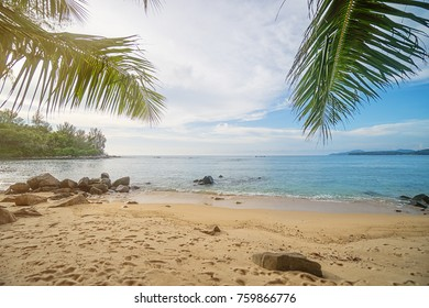 Beach on Phuket island, Thailand. The tropical ocean, palm trees and sand among the rocks