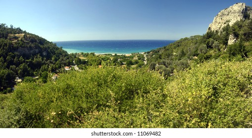 Beach on the Samos island, Greece. Panoramic view from a hill on the island.