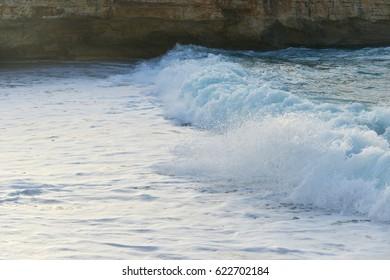 beach on sea shore. sea wave, sand