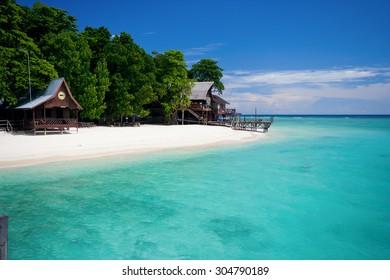 Beach on Sipadan Island near Borneo, Malaysia