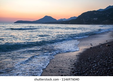 Beach on sunset in city Bar in Montenegro