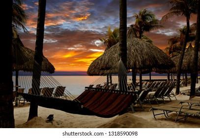 Beach on tropical resort at sunset