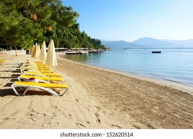 Beach on turkish resort, Fethiye, Turkey