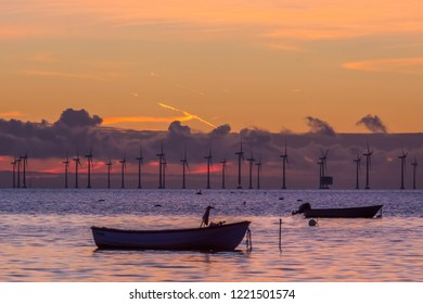 The beach of Oresund when sunset with a wind power station in the background and old skiffs in the foreground