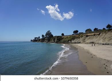 Beach and Pacific Ocean in Capitola, California.