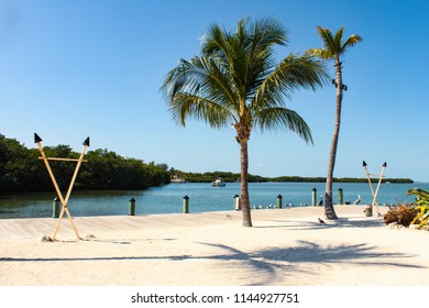 A beach with palm trees built out on a dock in the Florida Keys