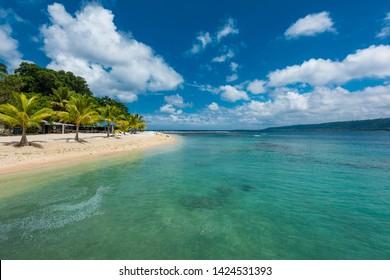Beach with palm trees, sunny tropical Efate island, Vanuatu