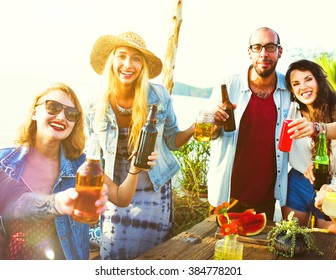 Beach Party Dinner Friendship Happiness Summer Concept