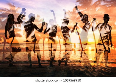 beach party double exposure, group of young people dancing, friends drinking beer and cocktails at sunset, collage