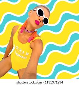 Beach Party Girl. Stylish summer accessories. Hawaii fashion