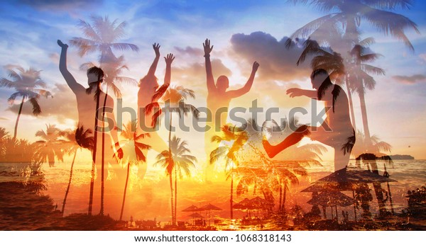 beach party, group of friends having fun together in sea, silhouettes of young happy people dancing, double exposure banner