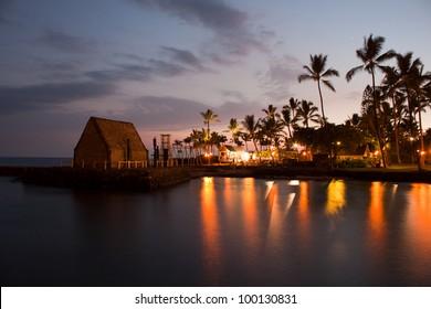 beach party Luau on Big Island Hawaii after sunset