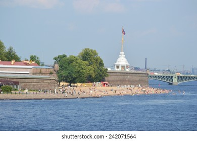The beach at the Peter and Paul Fortress, St.Petersburg., Russia.