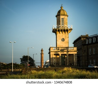 The Beach and Pharos lighthouses, Fleetwood, Lancashire, UK, England