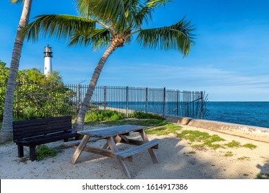 Beach picnic area near Cape Florida Lighthouse on the Key Biscayne, Miami, Florida.