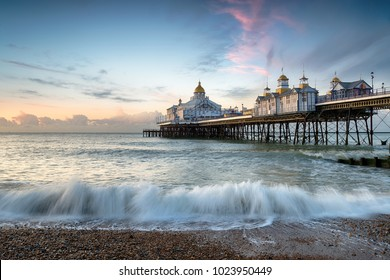The beach and pier at Eastbourne on the East Sussex coastline