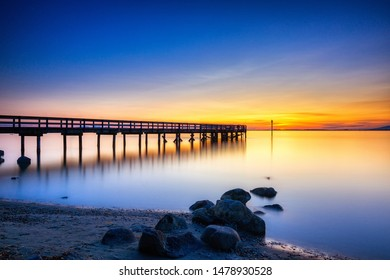Beach and pier at sunset, Surrey, BC, Canada