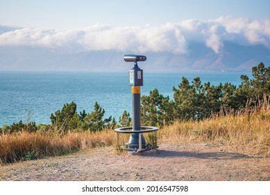 Beach Pier Tower Viewer installed on the shores of Lake Sevan. Armenia