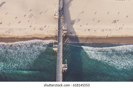 Beach and pier, view from above