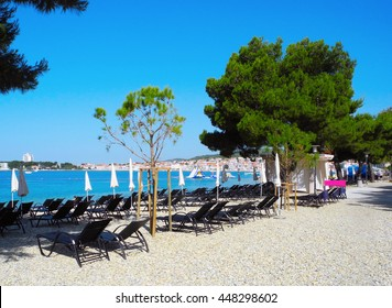 Beach with pines in Vodice in the sunset, Croatia.