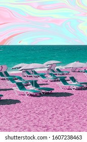 Beach with pink sand, blue sunbeds, sea and sky in tie dye style. Art collage conceptual poster.