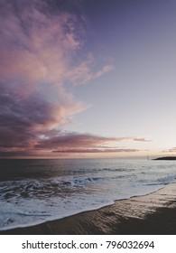 Beach pink sunset