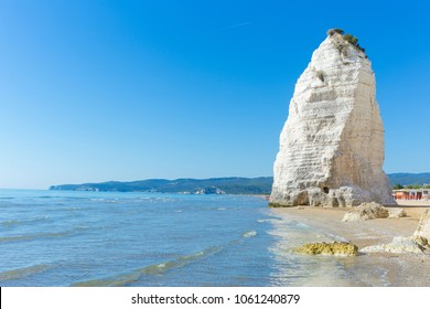 Beach of Pizzomunno rock, at Vieste, in Apulia region, South  Italy