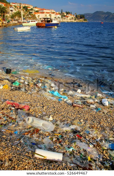 Beach polluted with plastic garbage due to sea currents, Korcula island, Croatia.