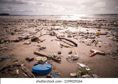 A beach polluted with plastic litter at Kuta, Bali, Indonesia. There was plastic as far as you can see, at the beach and swimming in the water