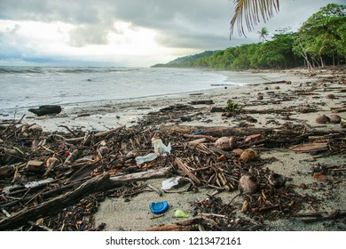 Beach pollution with the rainy season. After the heavy rains of the last few days in Costa Rica, the beaches of Santa Teresa are polluted by all kinds of waste.