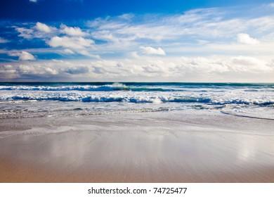 Beach at Porthcurno Cornwall England UK