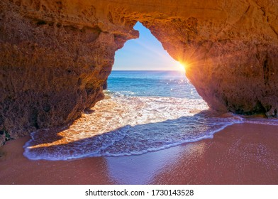 beach in  Portimao is a favorite vacation spot for the Portuguese and visiting Europeans. Clean sand, warm sea and beautiful cliffs on the coast attract tourists.