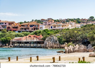 Beach in Porto Cervo, a famous tourist resort on Sardinia, Costa Smeralda, Italy