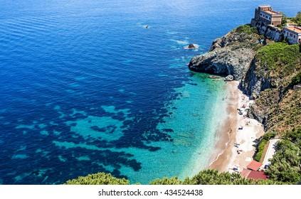 Beach of Portoferraio, Elba island in Italy