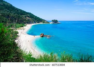 Beach Potami near the port Karlovassi on the aegean island Samos