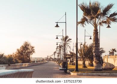 Beach and promenade of Almerimar. Almeria, Andalusia, Spain