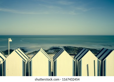 Beach promenade with beach cabins, Yport town, Normandy, France