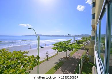 beach promenade in Itapema, view of the coastline of santa catarina, itapema beachfront