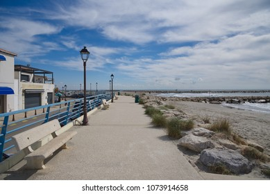 Beach and promenade - Saintes Maries de la Mer - Camargue (Provence) - France