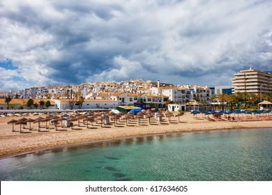 Beach in Puerto Banus resort on Costa del Sol, Marbella, Andalusia, Spain