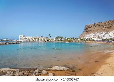 Beach in Puerto de Mogan, on island of Gran Canaria